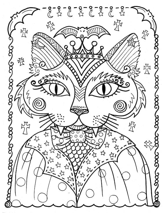 descargas de 5 páginas de fantasía instantánea de gatos gato | Etsy