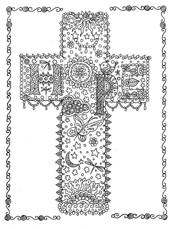 HOFFE Kreuz digitale Färbung Seite Instant Download von