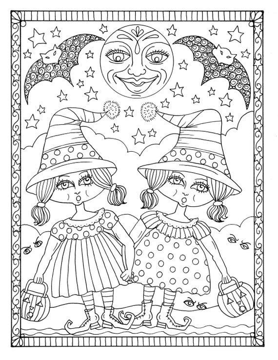 5 pages of magical witches to color halloween instant etsy for Selling coloring pages on etsy