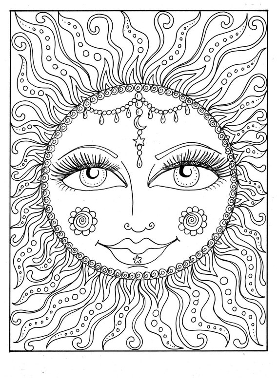 Instant Download Sun Summer Coloring Page Adult Coloring Page Etsy