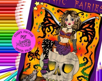 Gothic Fairies Coloring book. 32 pages of coloring fun. Halloween , skulls, adult coloring.