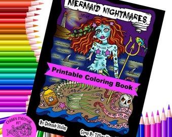 Mermaid Nightmares PDF downloadable printable, digital coloring book, mermads, sirens, halloween, scary