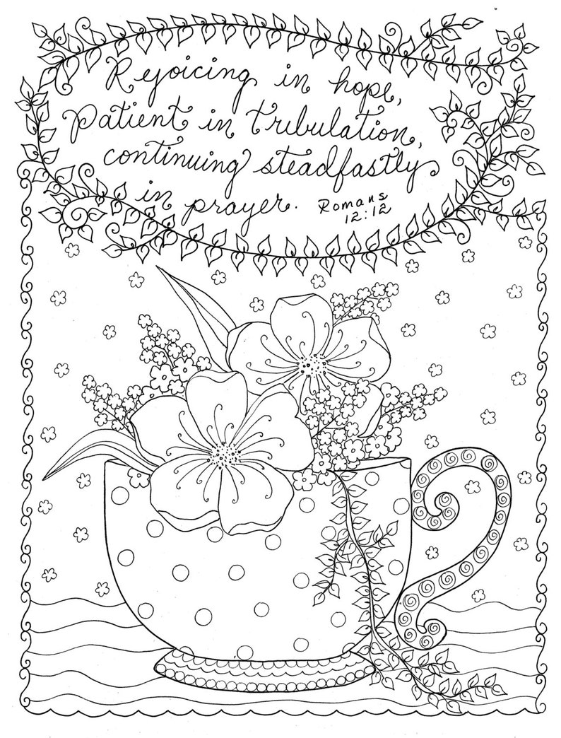 Digital Coloring page Christian Coloring Scripture Instant | Etsy