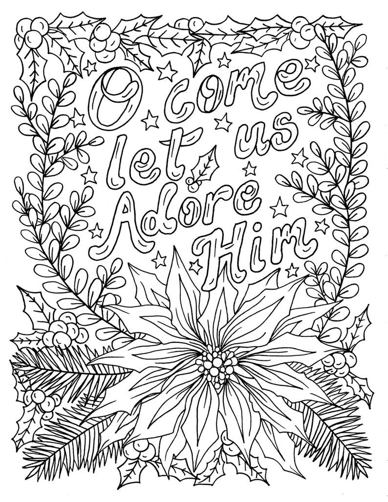 Christian Christmas Coloring Page Adult Coloring Books Art | Etsy