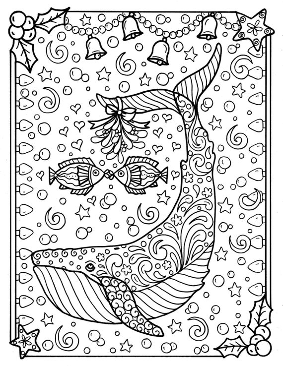 Whale Christmas Coloring Page Adult Coloring sea life beach coloring book