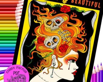 Bizarrely Beautiful Digital download coloring book. Halloween coloring fun. Adult coloring.