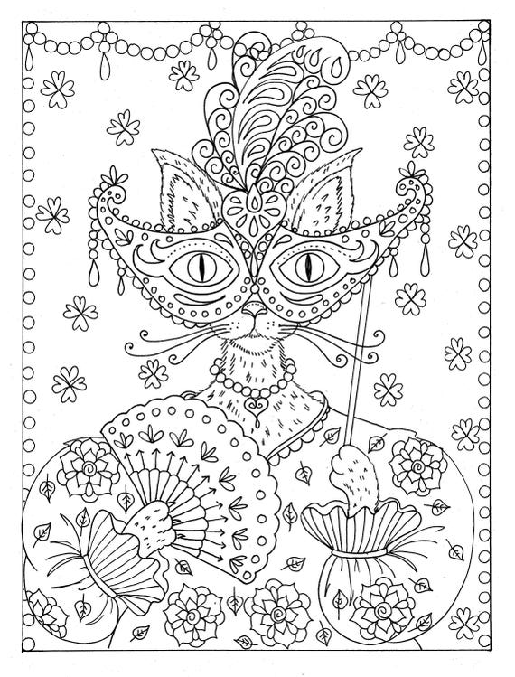 Fantasy Kat Instant Download Kleurplaat Etsy