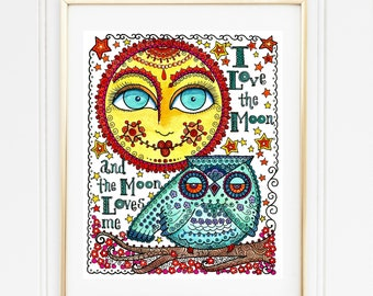 Instant Download Owl Moon Love Art Print Quotes Blue Yellow, wall decor, nursery, owls, home decor, woods