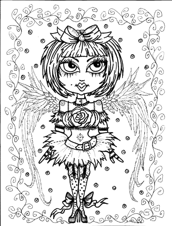 5 Pages Instant Download 5 Coloring Pages Gothic Angels Color Book Art Digital Digi Stamp Goth Digital Coloring