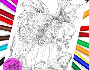 Fall Dragon and pumpkin PDF Digital coloring page. Fun fall coloring. Print, color and enjoy!