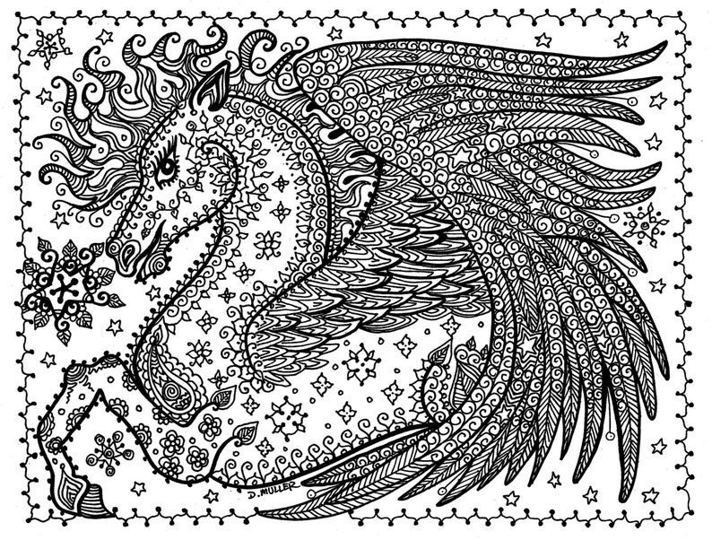 Kleurplaten One Direction Printen.Instant Download Pegasus Coloring Page You Be The Etsy