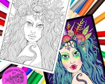 Mermaid Instant download, digital coloring page, mermaids, sirens, beach adult coloring