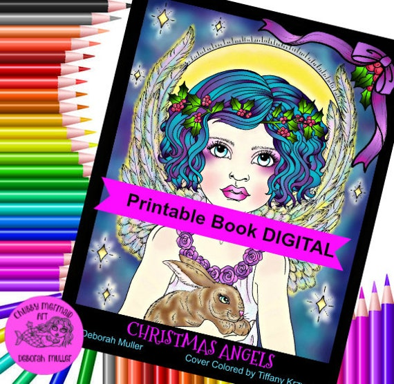 Christmas Angels Coloring Book PDF files, Instant download. Beautiful  Angels to color. Adult coloring pages for the holidays