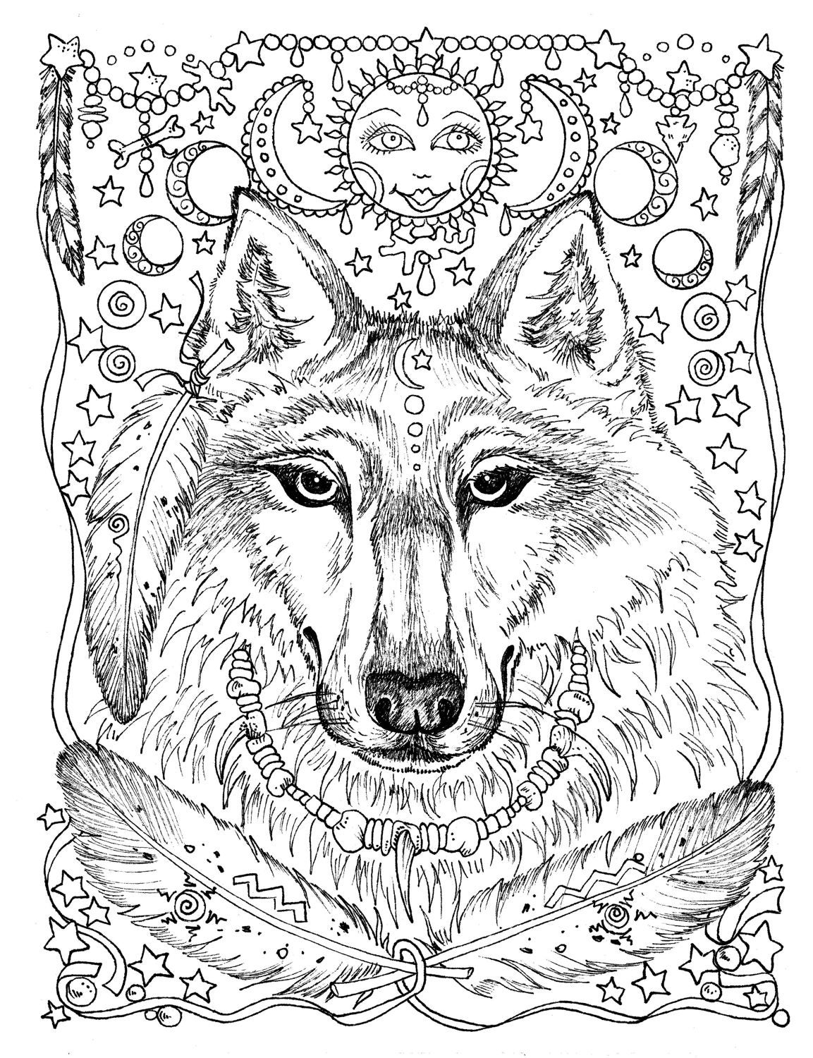 5 Pages Instant Download Animal Spirits to Color Wolf ...