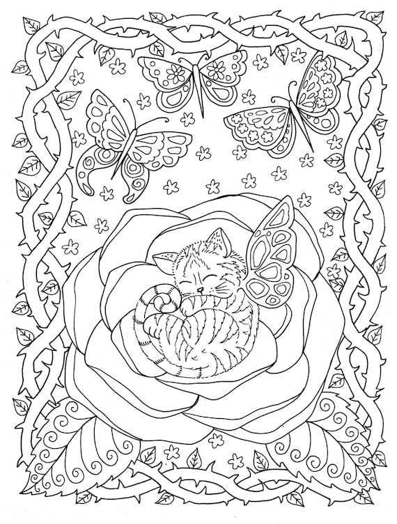 Instant Download Coloring page Kitten in Rose from the Fantasy Cats Coloring Book/adult coloring/cat/animal/digital pages