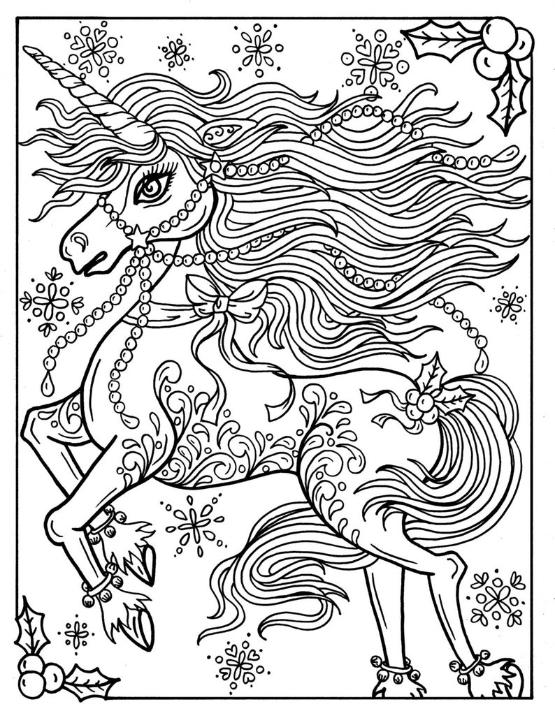 Christmas Unicorn Adult Coloring Page Coloring Book Holidays Etsy