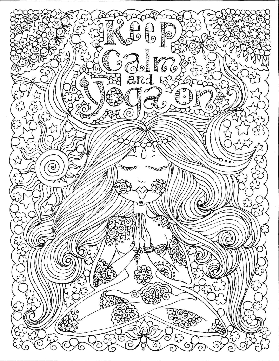 INSTANT DOWNLOAD Yoga On Art for you to Color Be the | Etsy