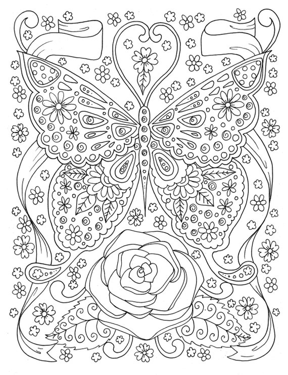 Butterfly Coloring Page Adult Coloring Book Digital Coloring Etsy