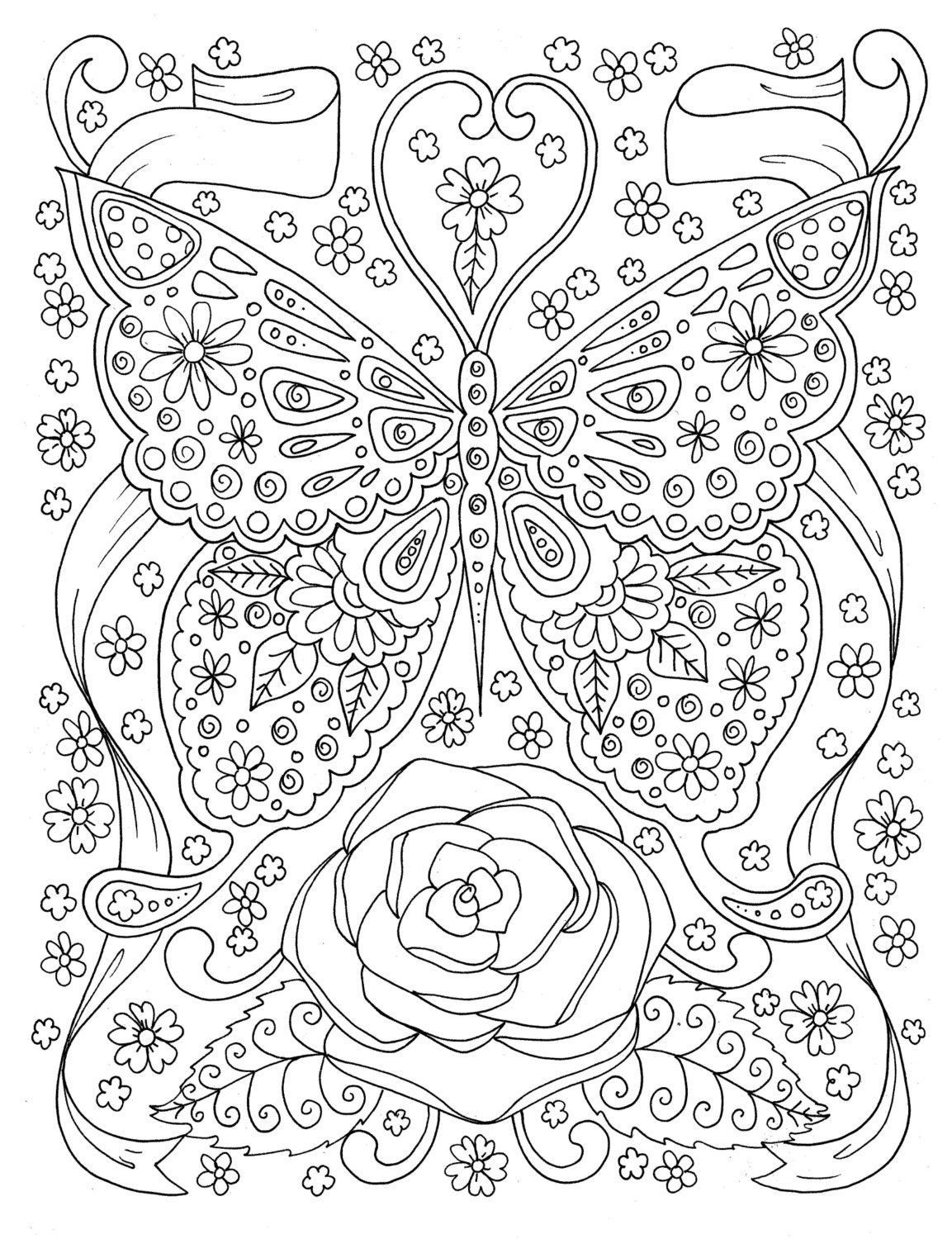 Butterfly Coloring Page Adult Coloring Book Digital