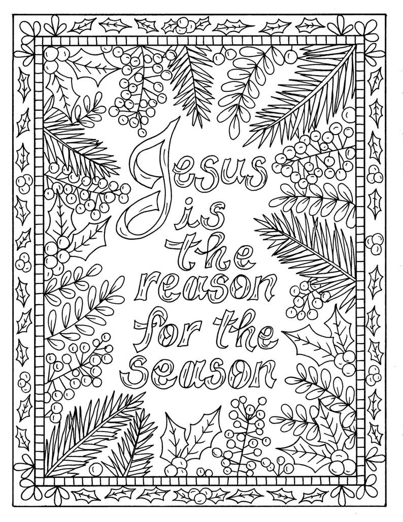 5 Christian Coloring Pages for Christmas Color Book Digital Adult  Scripture/digital/digi stamp/church