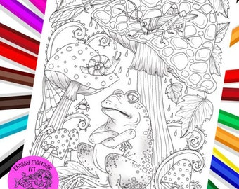 Fall frog and friends coloring page, pdf, digital, fun fall coloring. Frog, dragonfly, snail, leaves and mushrooms to color.