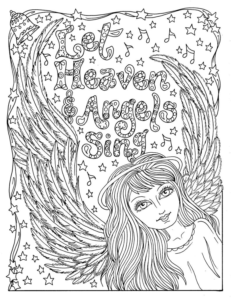 Christmas Angel Instant Download Coloring Page Christian Etsy