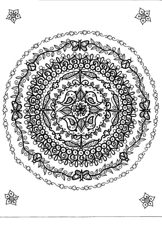 Instant Telecharger Petit Oiseaux Mandala 8 1 2 X 11 Page Etsy