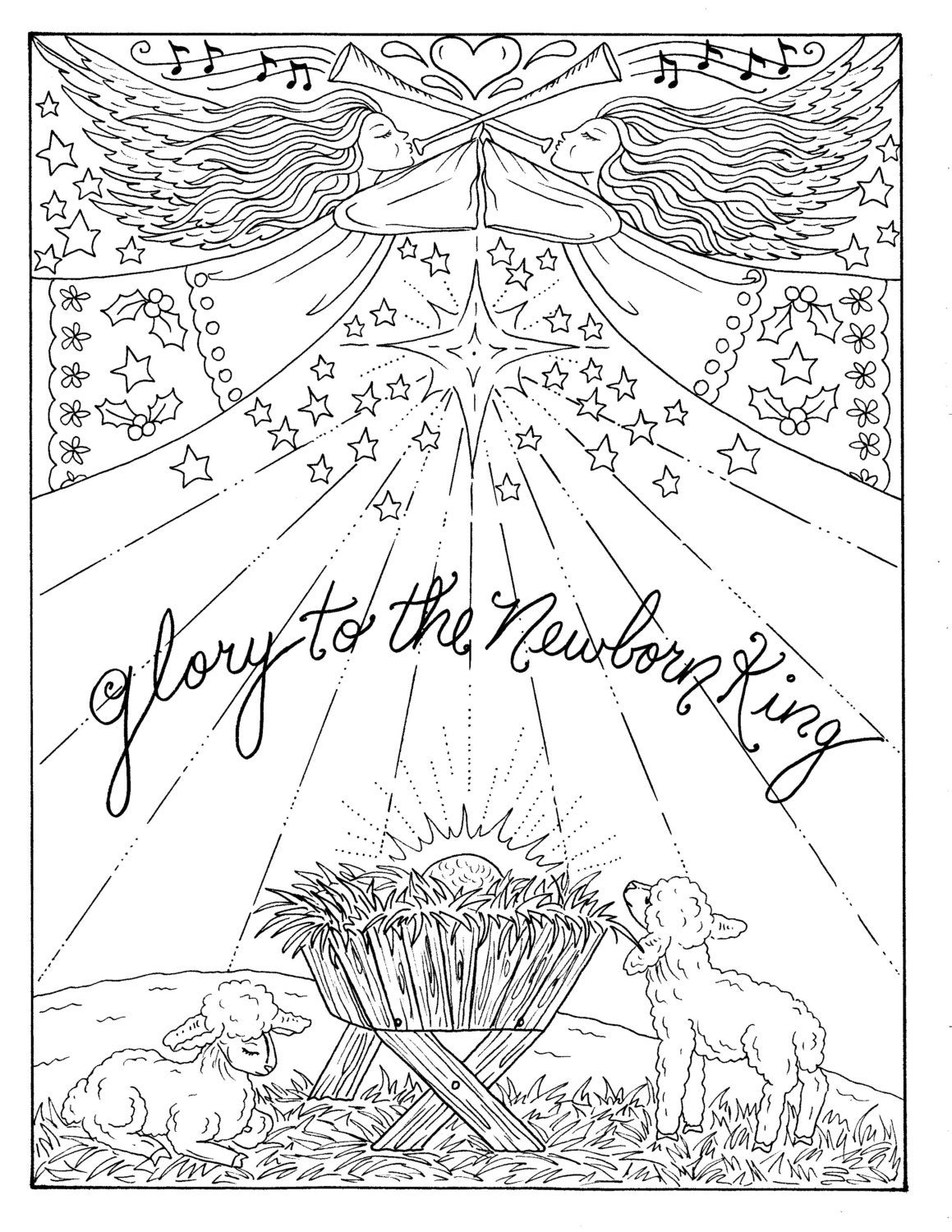 5 Pages of Christmas Coloring Christian Scriptures Bible Adult color  book/digital/digi stamp/church/bible