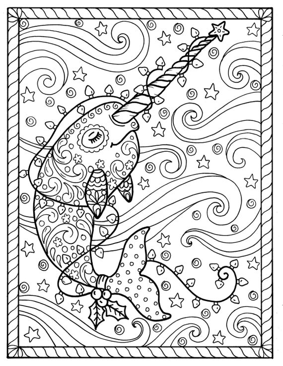 Narwhal Christmas Coloring pages Adult coloring books, digi stamp. whales,  digital files, jpg