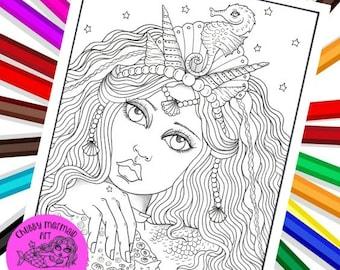 Mermaid Hair Girl Digital coloring page, adult coloring, Fantasy coloring and art, coloring books, mermaid coloring pages