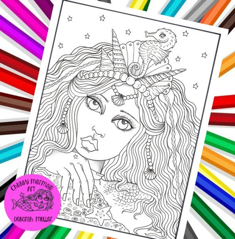 Mermaid Hair Girl Digital Coloring Page Adult Coloring Fantasy Coloring And Art Coloring Books Mermaid Coloring Pages