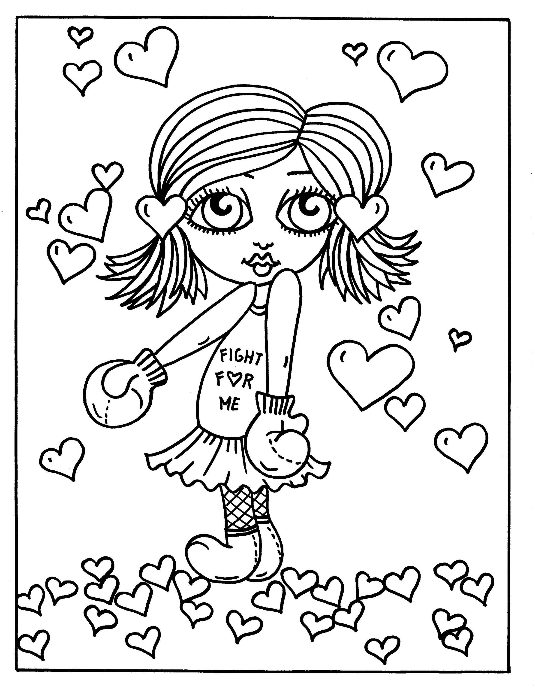 5 Seiten Valentine Mädchen Digital Malvorlagen Digi Stempel | Etsy