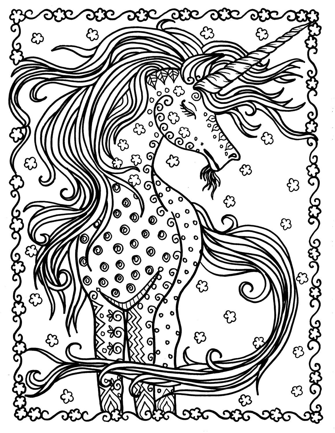 Unicorn Instant Download Fantasy Coloring Pages Adult