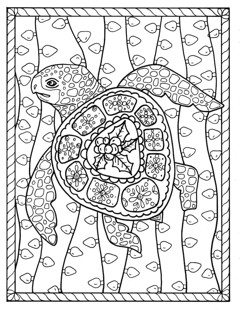 Kleurplaten Zeeschildpad.Zeeschildpad Kerst Kleurplaat Pagina Instant Download Digitale Etsy