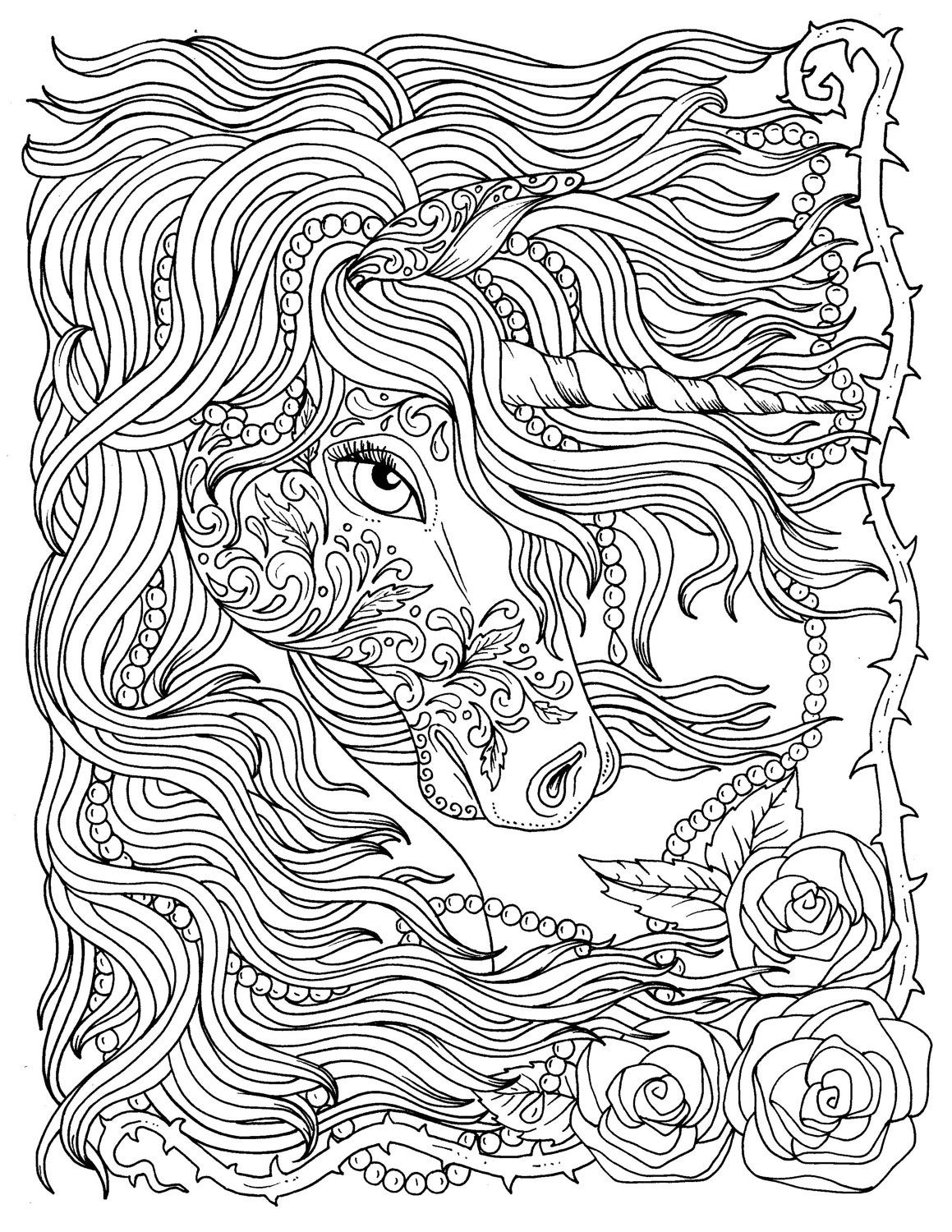 Unicorn and Pearls Fantasy Coloring Page Adult Coloring | Etsy