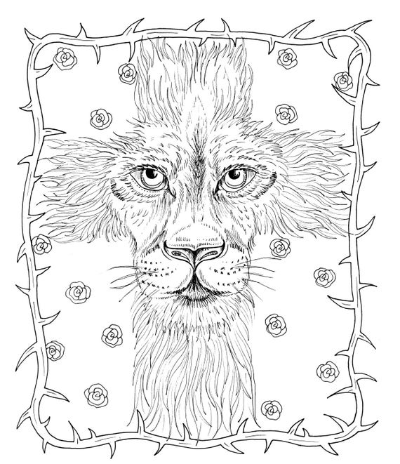 Christian Instant Download Easter Coloring page Bible God Cross Lion of Judah adult coloring
