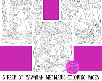 3 pack of Hawaiian Mermaids to color. Tropical fun, adult coloring pages.
