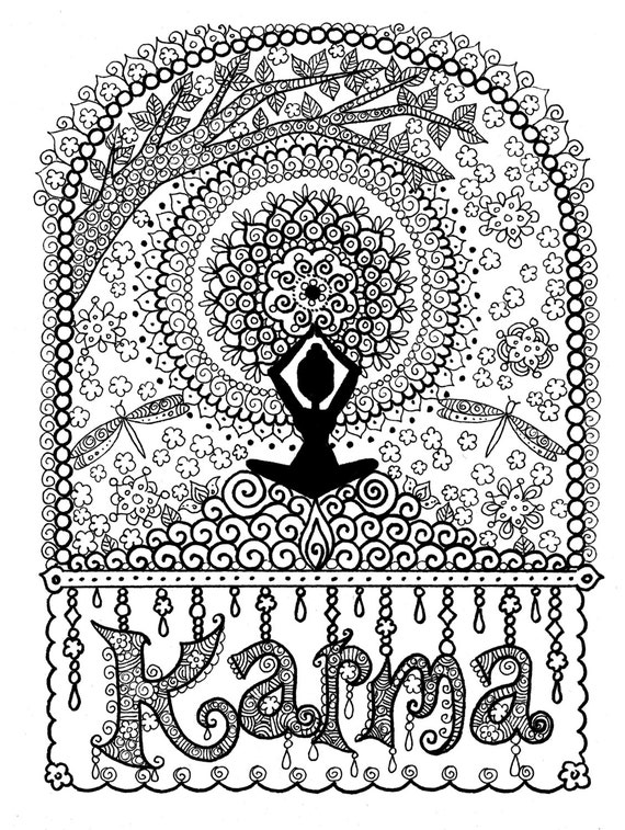 KARMA Coloring Page Digital For Adults Instant