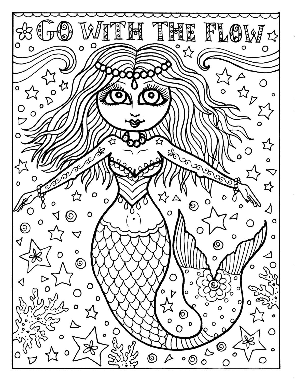Instant Download Coloring Page Mermaid Adult Coloring Page