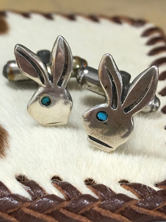 Vintage Sterling Silver and Turquoise Playboy Bunn