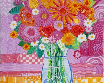Flowers and Glass Vase  Collage Print Digital Download