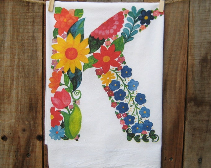 "Monogram Flowers Letter ""K"" Kitchen Towel"