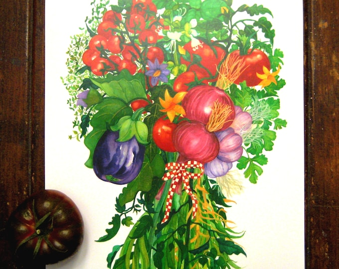 Eggplant, Tomatoes, and Onions Bouquet Watercolor Print