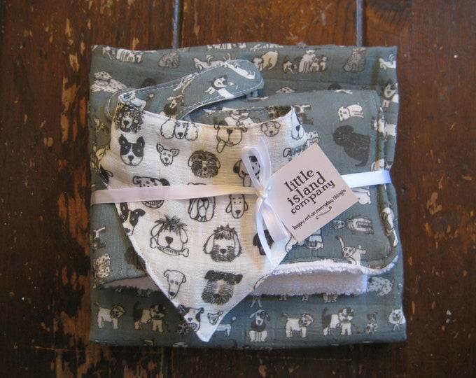 Baby Organic Swaddle Gift Set Dog Print