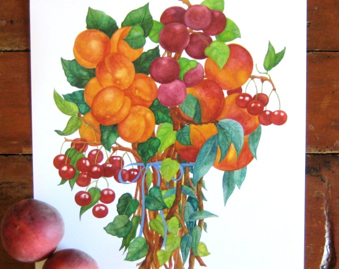 Summer Fruit Bouquet Watercolor Print 11X14