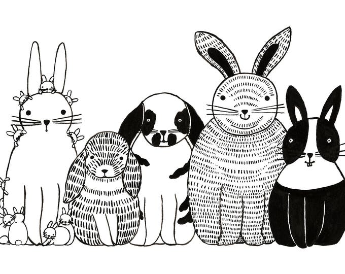 Five Bunnies in a Row Print