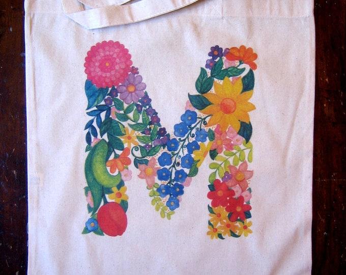 """Monogram Flower Letter """"M""""  Market Tote"""