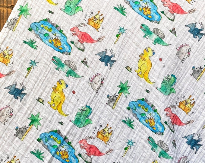 Dinosaurs at the Pond Baby Swaddle Gift Set