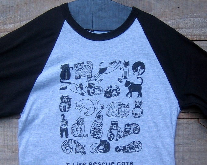 Rescue Cats Grey and Black Unisex Baseball Tee