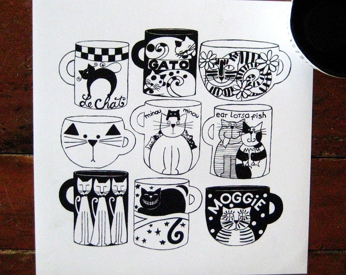 CAT CUPS Kitchen Print 12X12